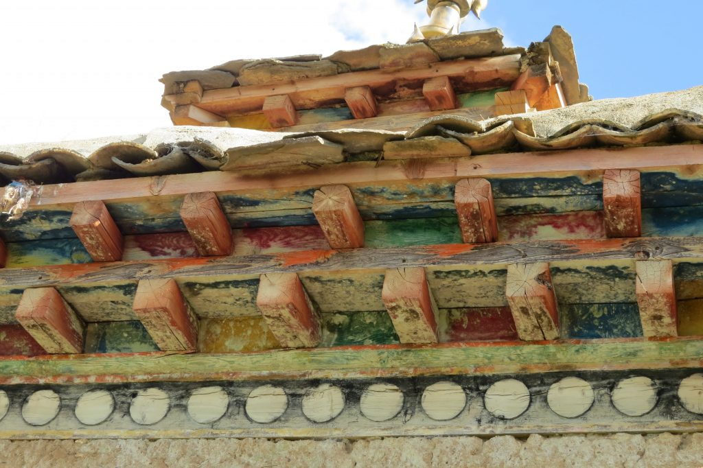 Tibetan Stupa Roof with painted wood beam construction