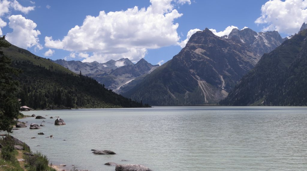 """Sacred lake called """"Lake that captures the heart"""" many hermits are in caves in the surrounding mountains"""