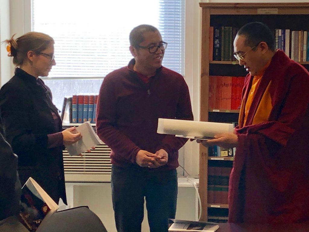 Kathog Trungpa Rinpoche talking with Ho Centre director, Sarah Richardson, and Tibetan teacher and PhD student, Kunga Sherab.